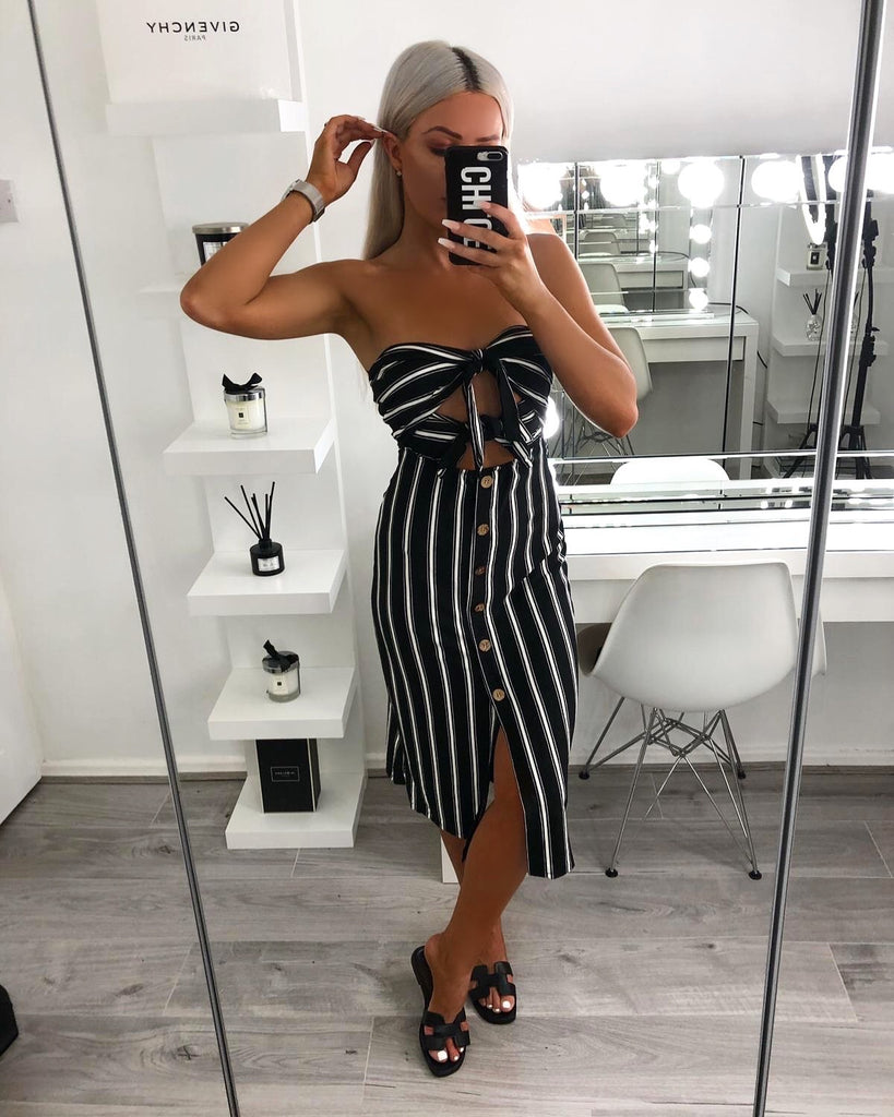 'Madison' Black Stripe Tie-Front Button Bodycon Dress