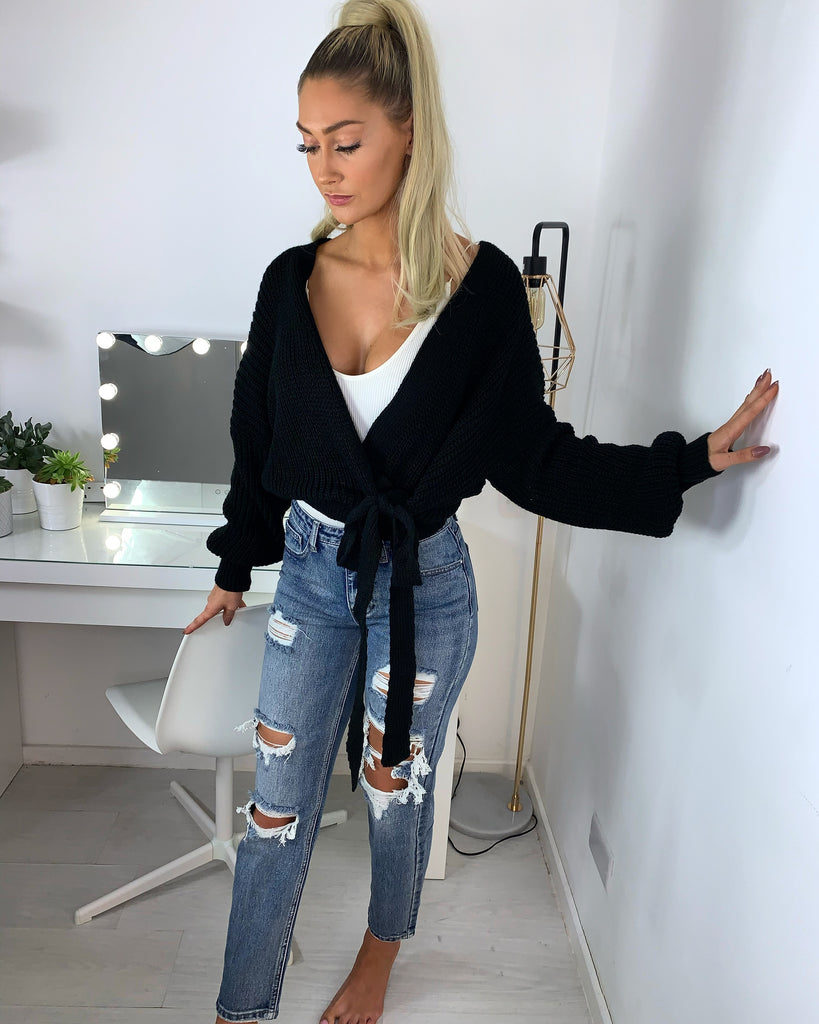 'Maya' Black Knitted Wrap Cardigan
