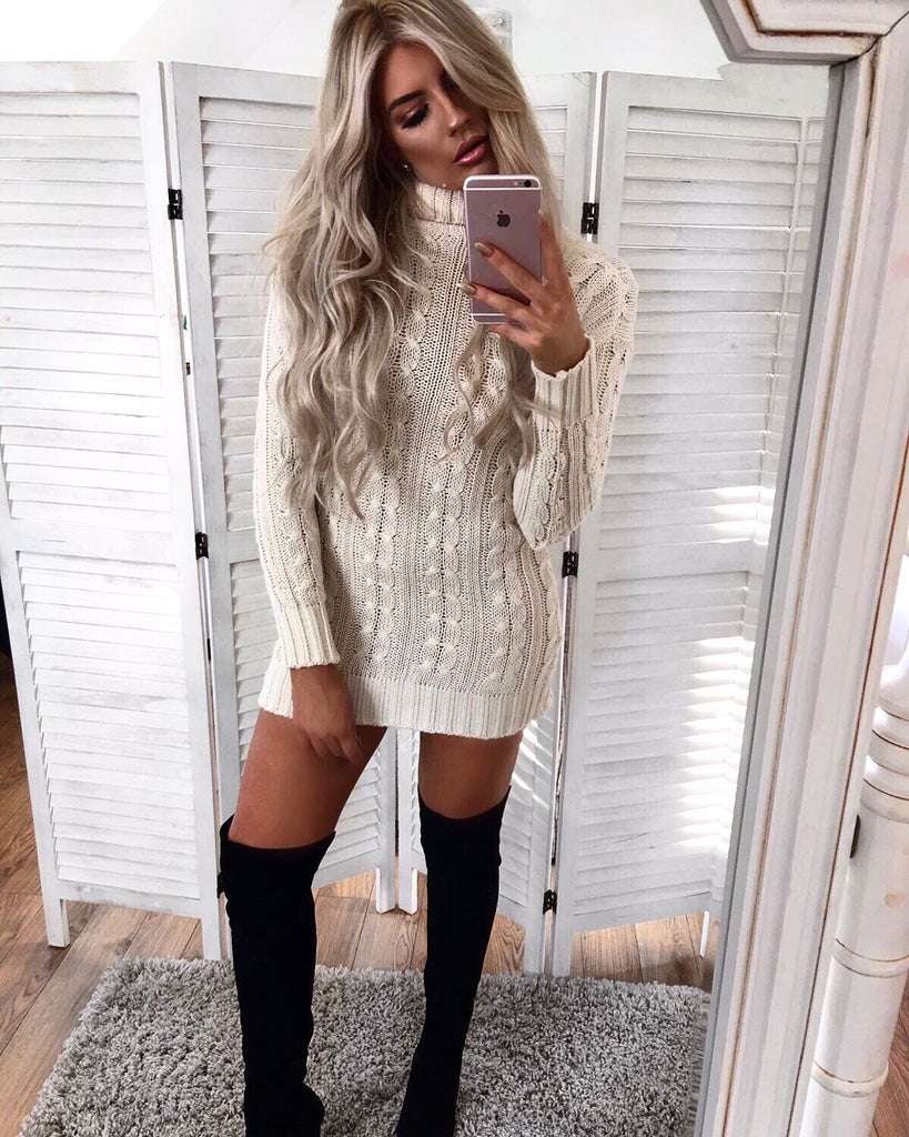 'Martine' Beige Knitted Roll-Neck Jumper Dress