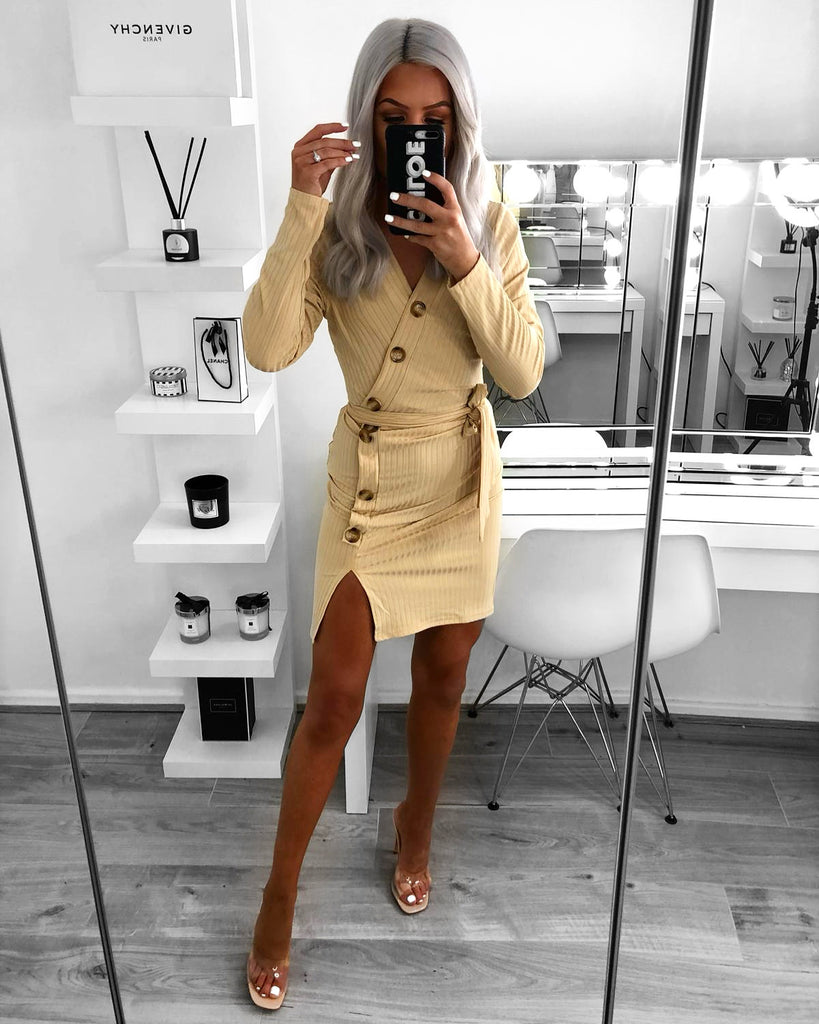 'Sadie' Cream Ribbed Belted Wrap Dress