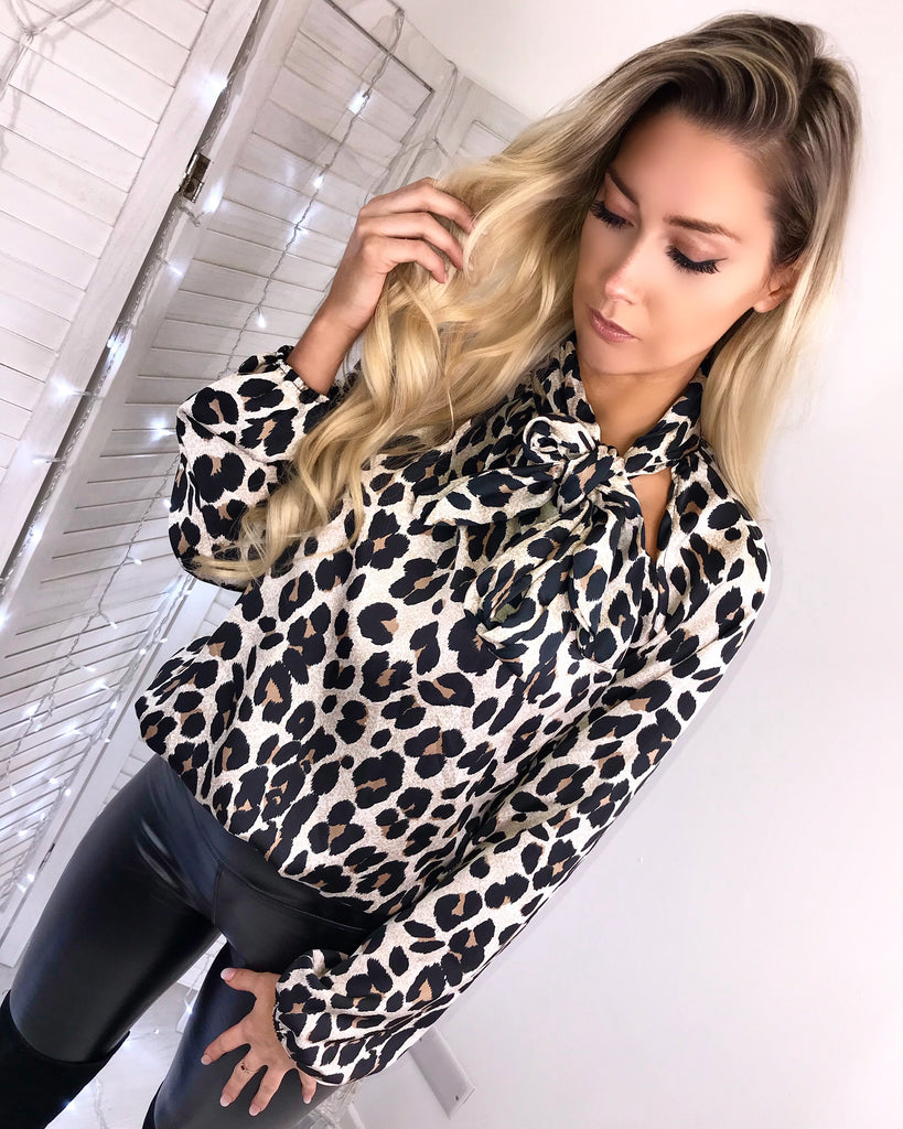 'Konnie' Animal-Print Satin Pussy-Bow Blouse