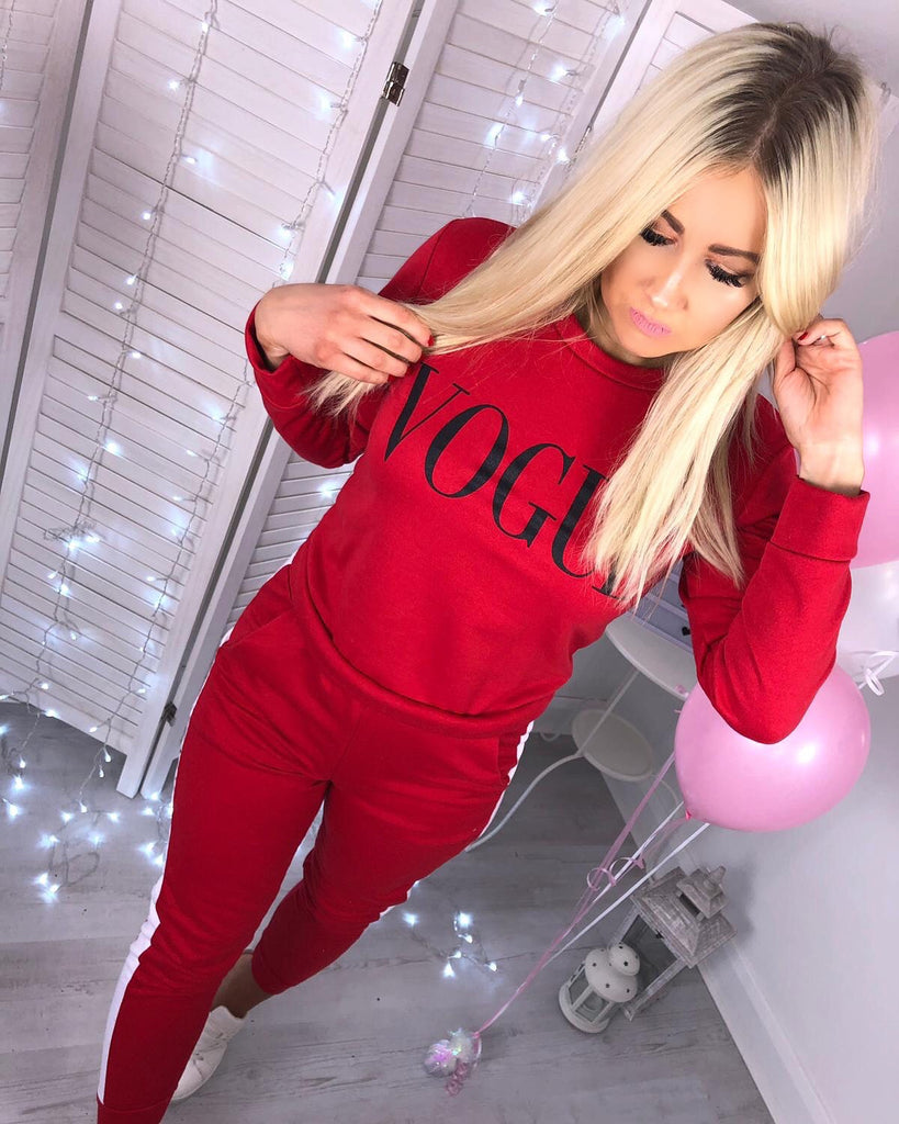 'VOGUE' Red Two-Piece Tracksuit