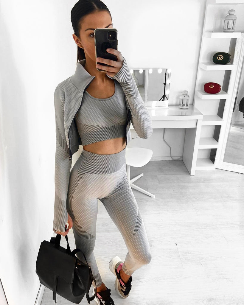 'Alexa' Grey 3-Piece Gym Set