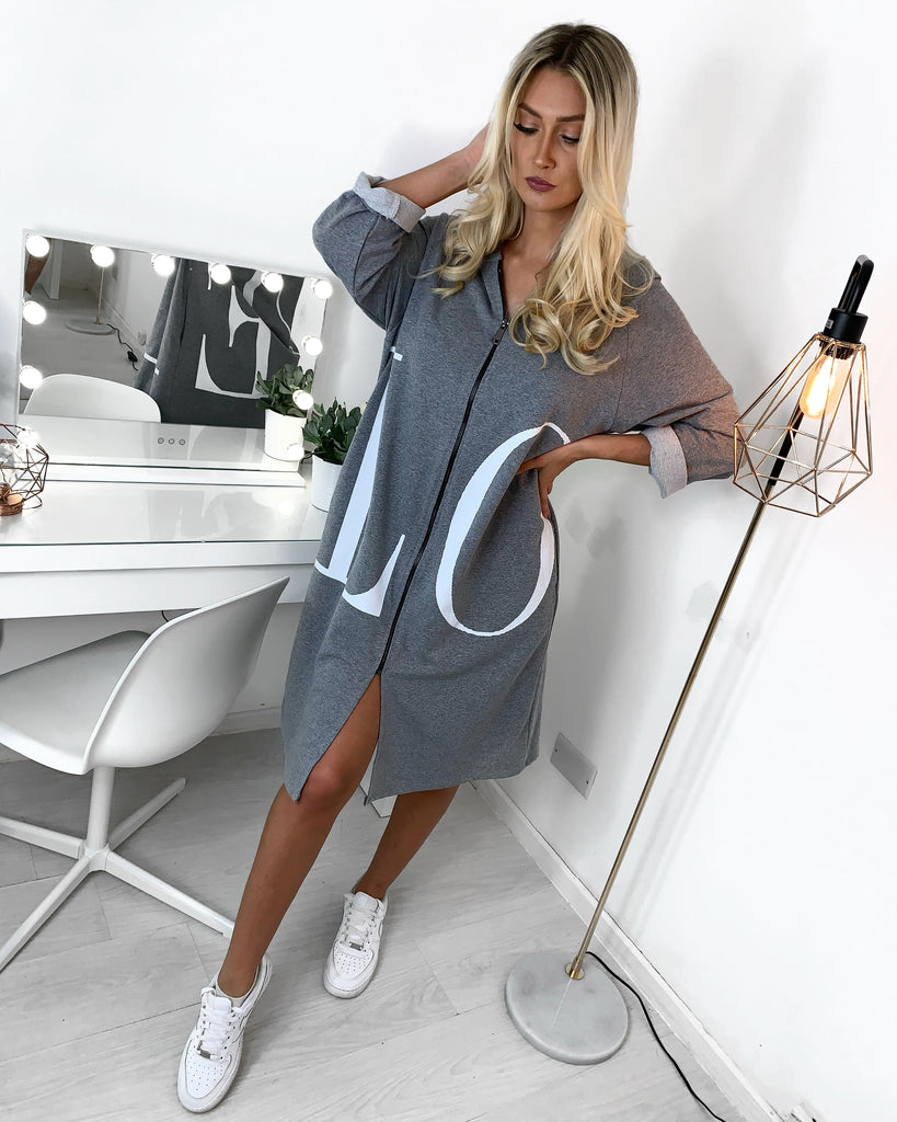 'LOVE' Grey Hooded Zip-Up Jumper Dress