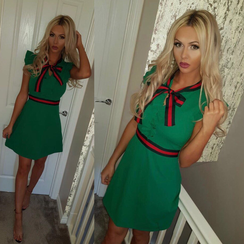 'Jola' Green Bow Frill Detail Dress