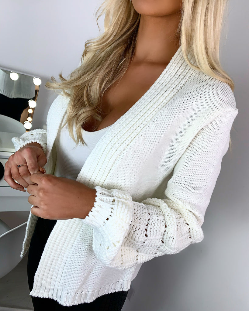 'Lea' Cream Chunky Knit Bubble-Sleeve Cardigan