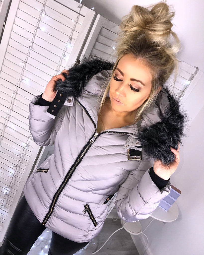 'Brooke' Grey Puffer Coat with Faux-Fur Hood