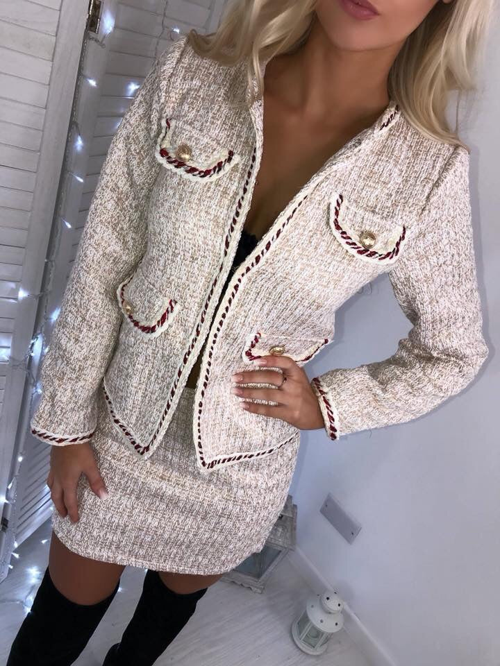 'Carmen' Cream Tweed Two-Piece Suit with Gold-Button Detail