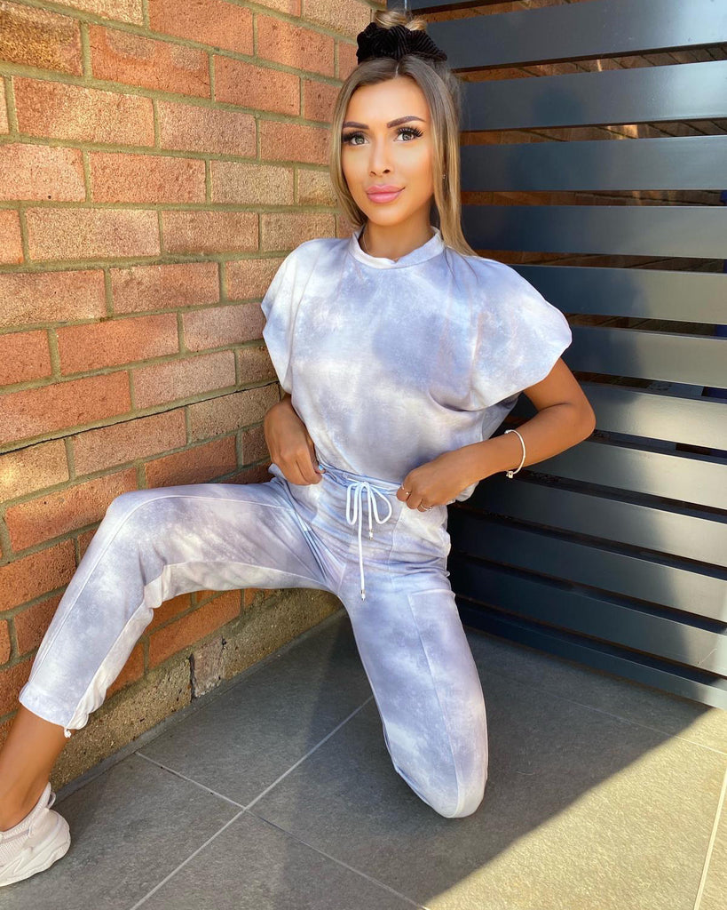 'Grace' Grey & White Tie-Dye Drawstring Loungesuit