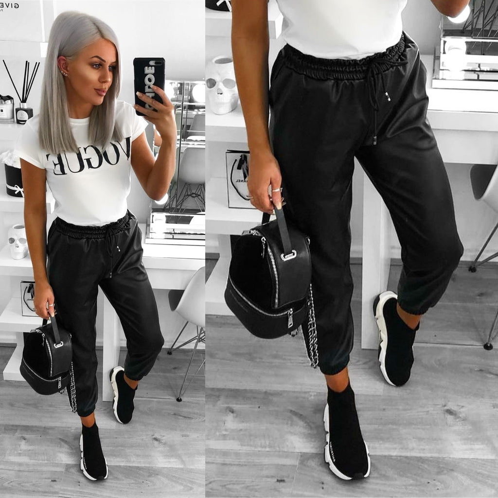 'Connie' Black Faux- Leather Joggers