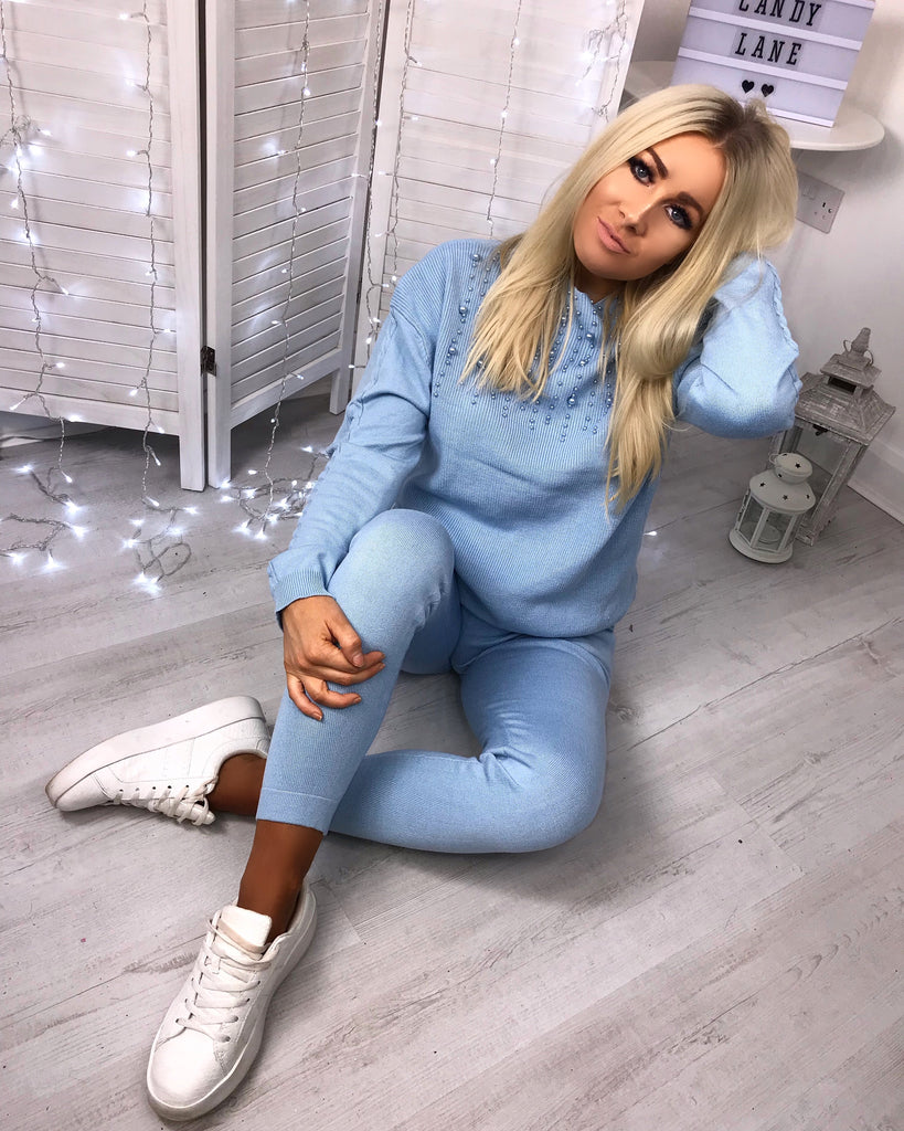 'Athena' Powder Blue Knitted Loungesuit with Pearl Detail