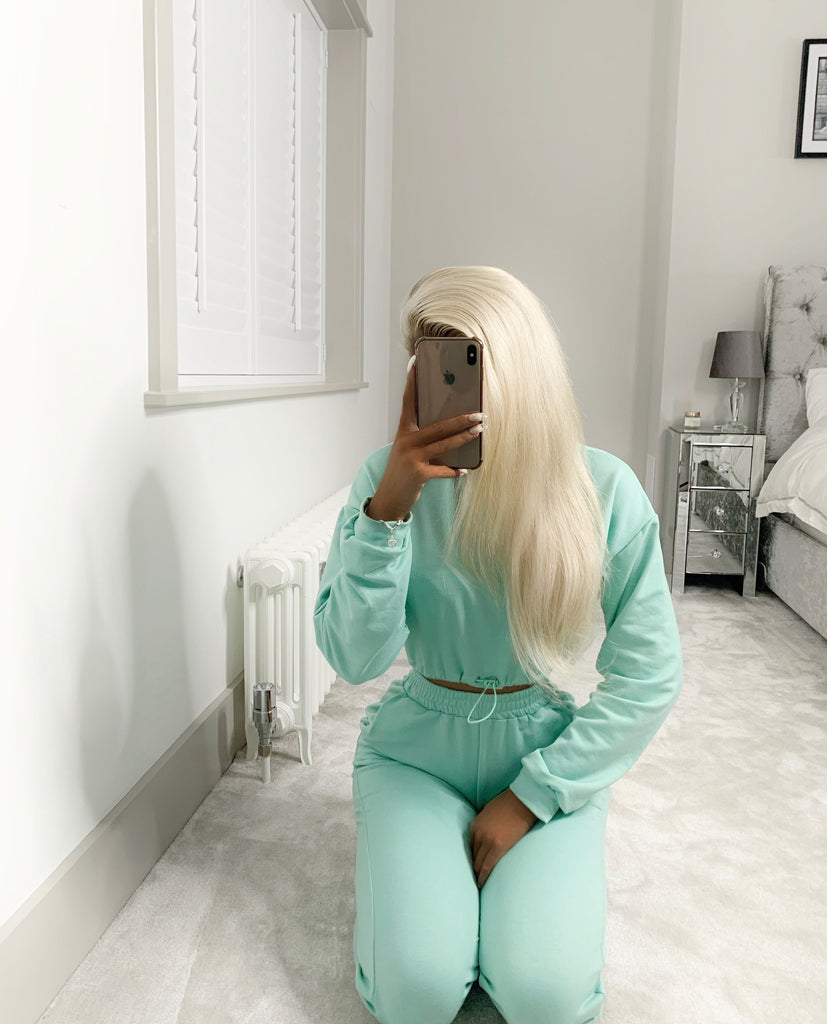 'Jolie' Aqua Drawstring Two-Piece Loungesuit