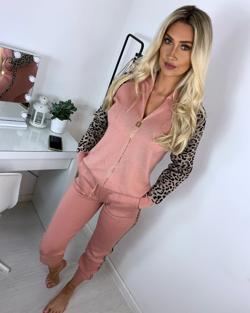 'Larissa' Coral Knitted Zip-Front Loungesuit