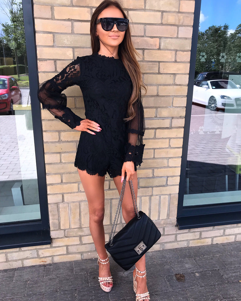 'Kira' Black Lace Playsuit with Bell-Sleeve