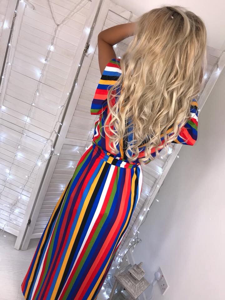 'Mariana' Multi-Stripe Maxi Dress with Tie-Belt