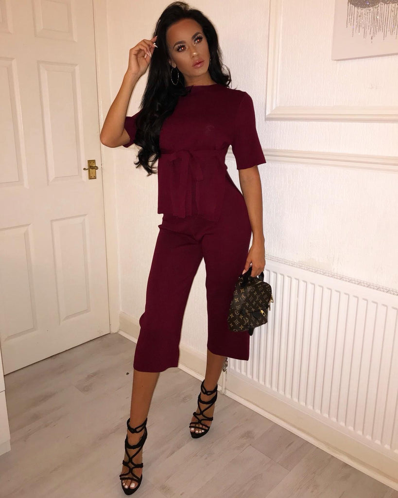 'Ronnie' Burgundy Heavy Knit Top & Trouser Co-Ord Set ( PRE ORDER 14 DAY DELIVERY)