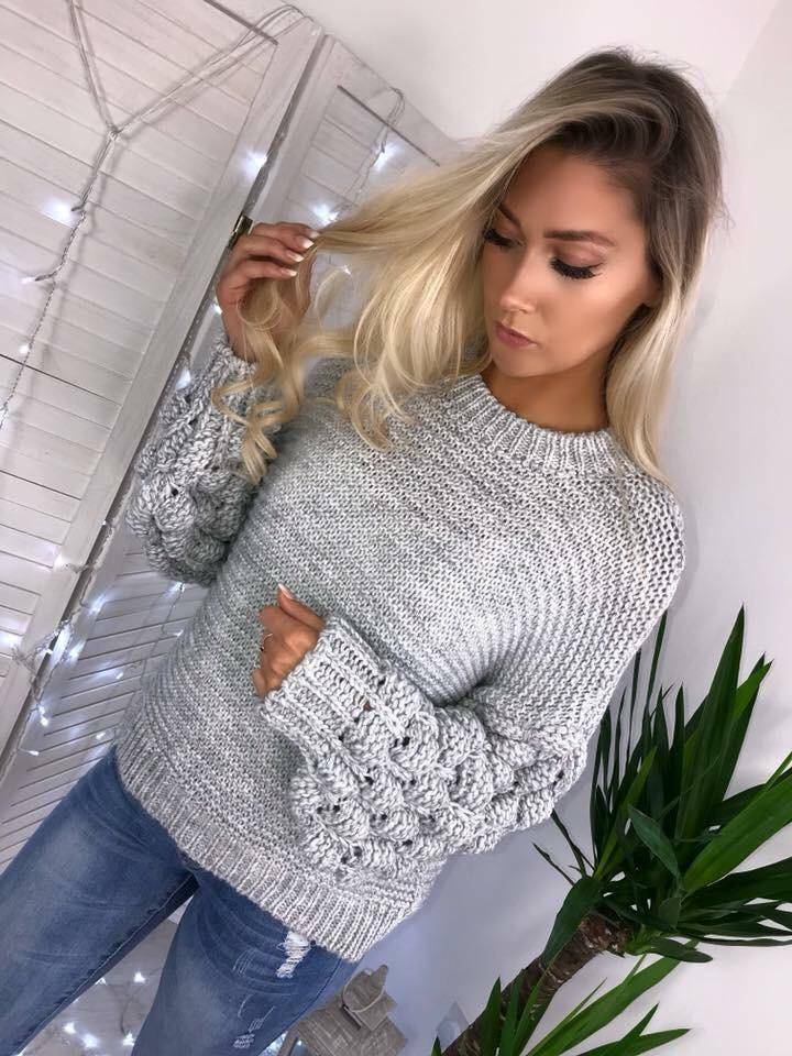 'Jada' Grey Chunky Knit Bubble-Sleeve Jumper