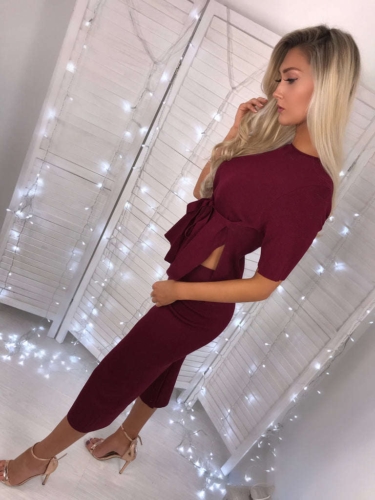 'Ronnie' Burgundy Heavy-Knit Top & Trouser Co-Ord Set