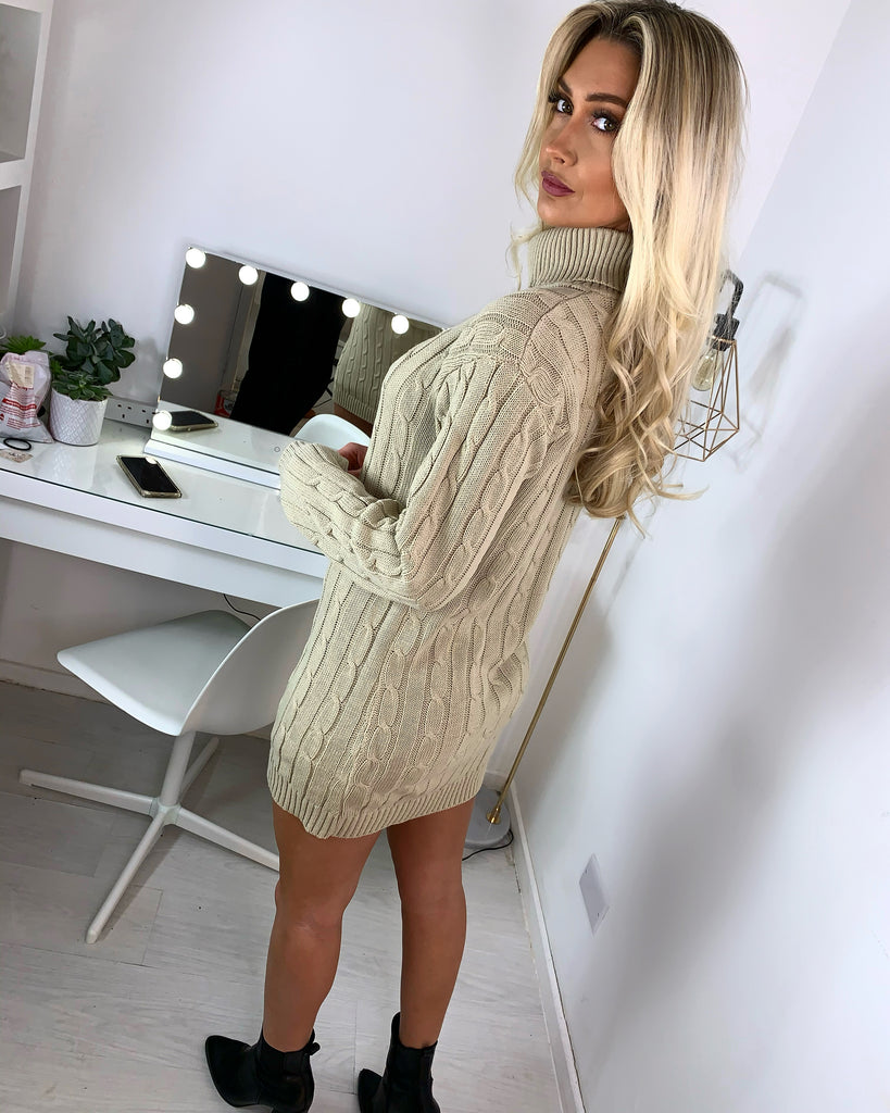 'Martine' Stone Knitted Roll-Neck Jumper Dress