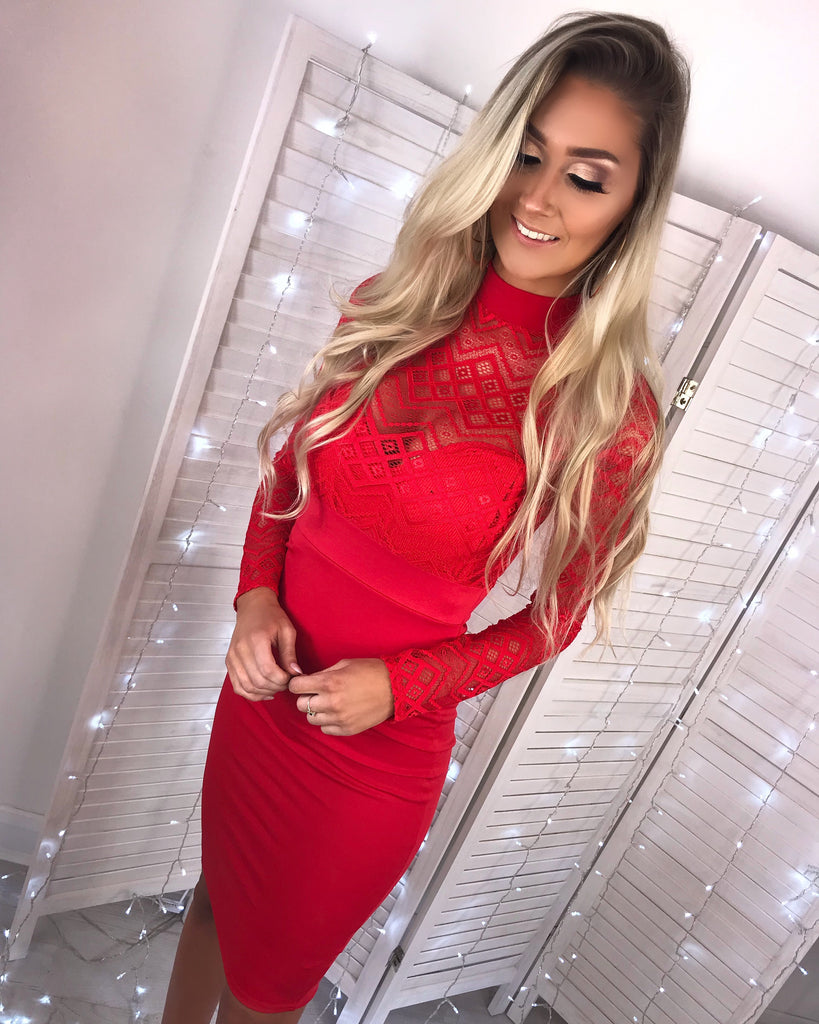 'Quinn' Red Lace-Detail Long-Sleeve Midi Dress
