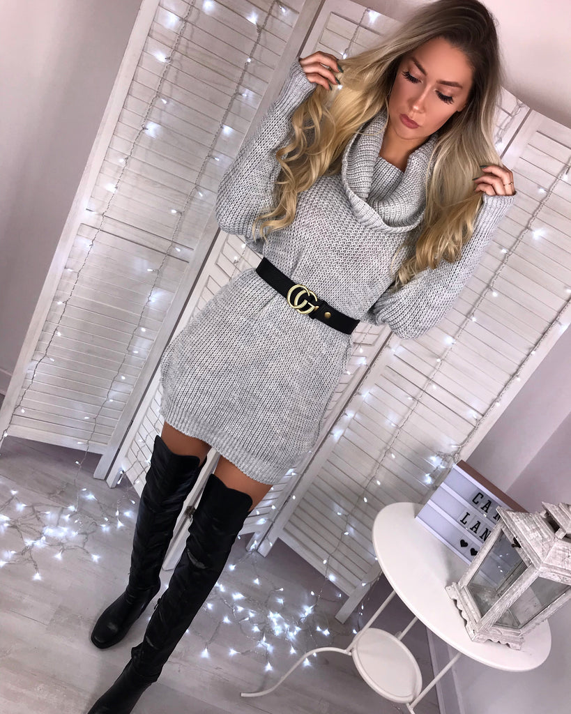 'Adele' Grey Chunky-Knit Roll Neck Jumper Dress