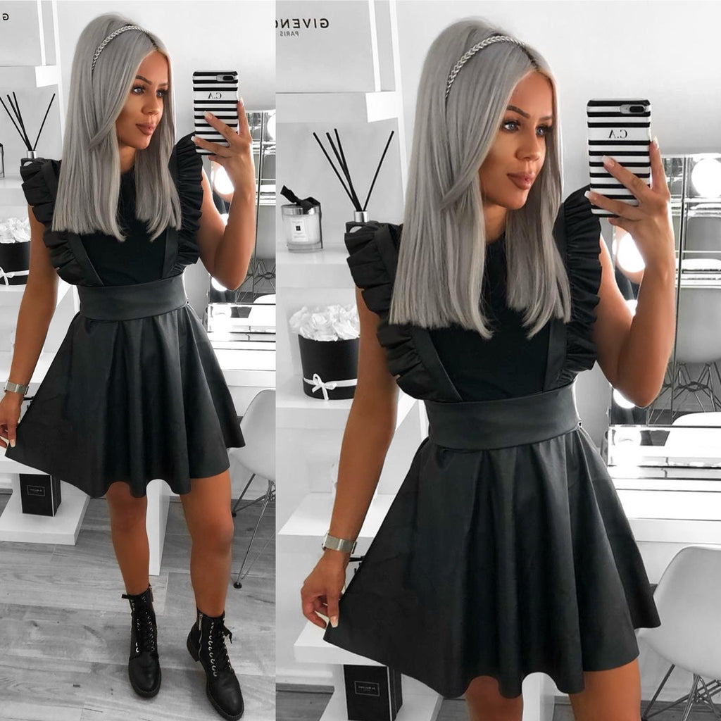 'Zoe' Black PU Tunic Dress