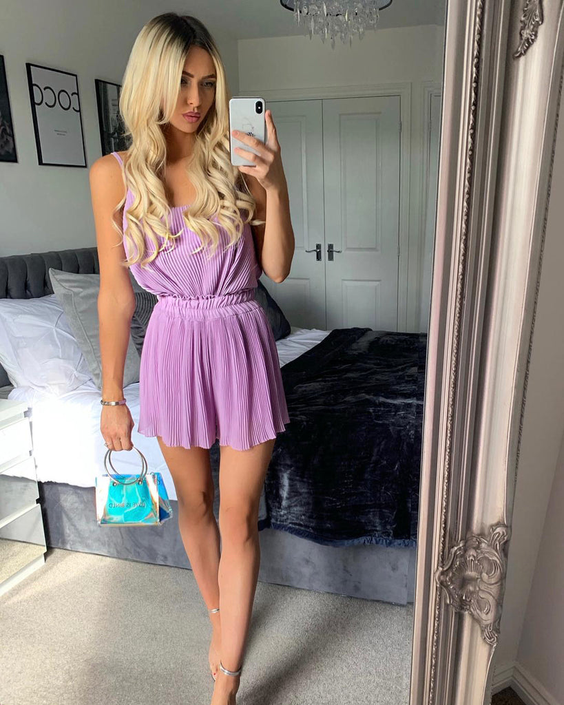 'Lulu' Lilac Pleated Top & Shorts Set