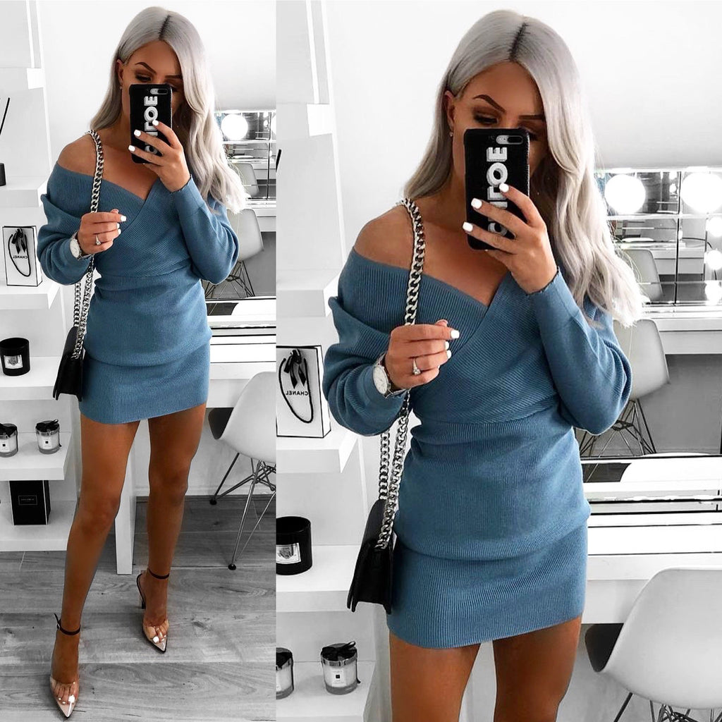 'Ella' Blue Knitted Long Sleeve Belted Wrap Dress