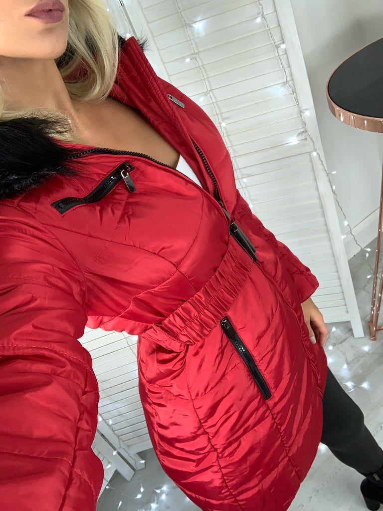 'Freya' Red Puffer Coat with Faux-Fur Hood & Belt