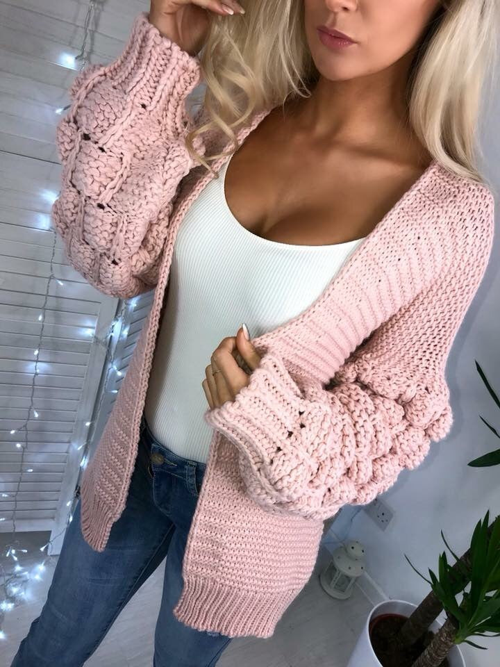 'Kallie' Pink Chunky Knit Bubble-Sleeve Cardigan