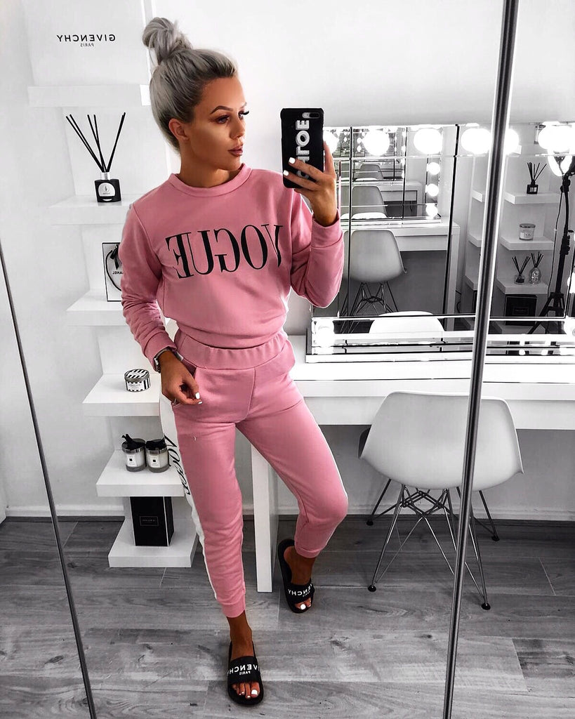'VOGUE' Pink Two Piece Loungesuit