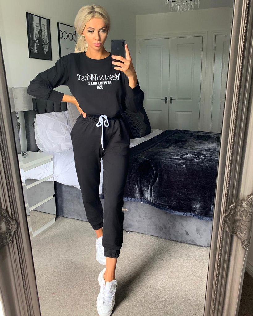 'Marley' Black Slogan Drawstring Loungesuit