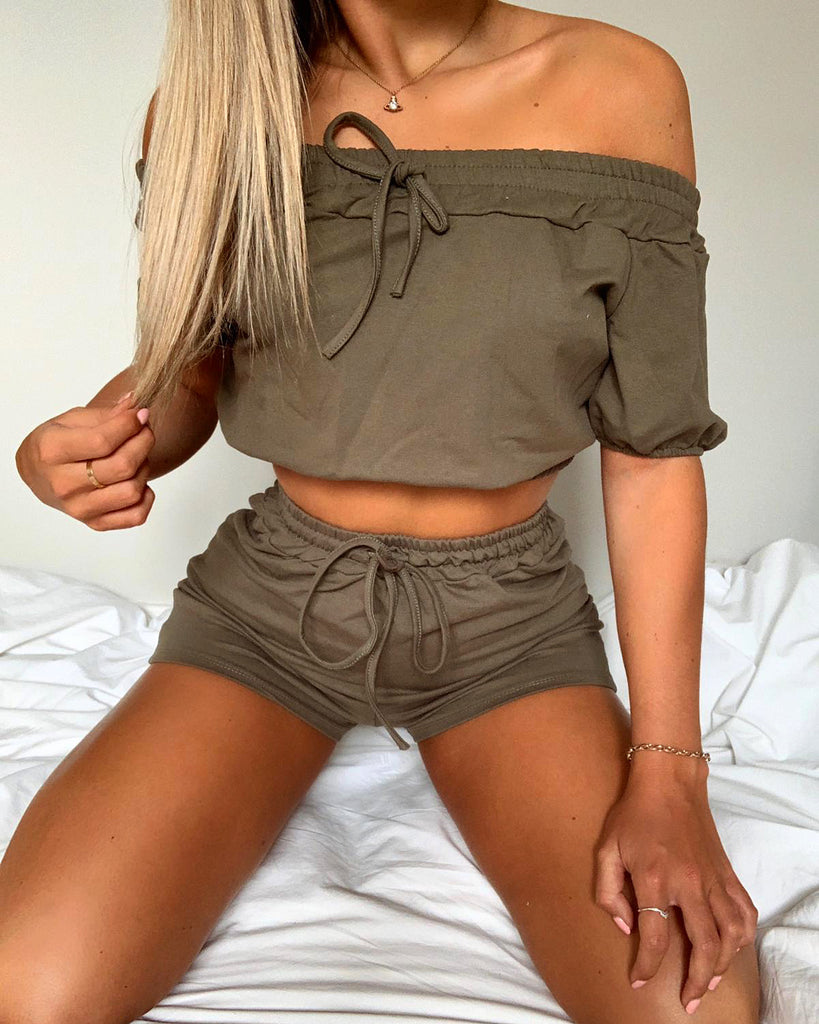 'Lilly' Khaki Off-Shoulder Co-Ord Set
