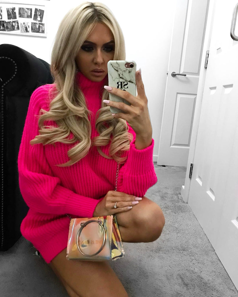 'Amy' Pink Heavy-Knit Jumper Dress