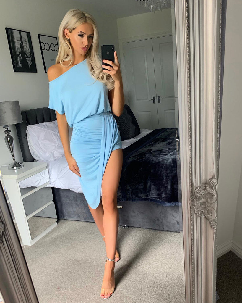 'Arlo' Blue Twist Asymmetric Hem Dress