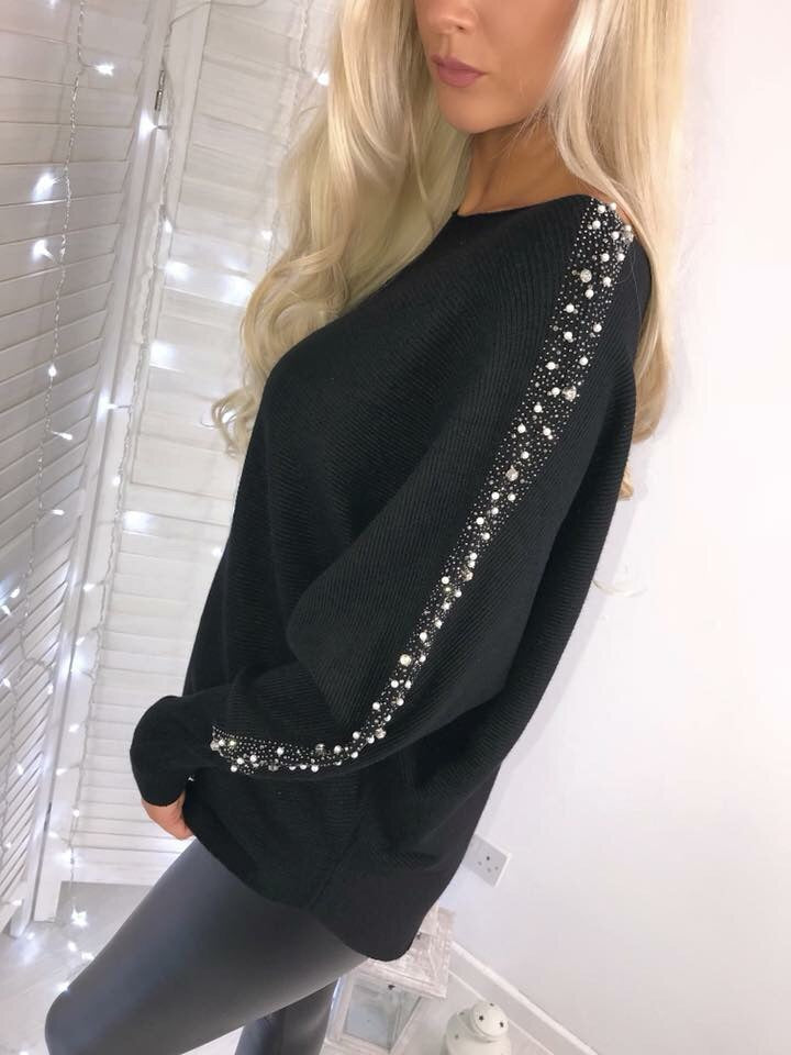 'Lillia' Black Diamanté-Sleeve Detail Jumper