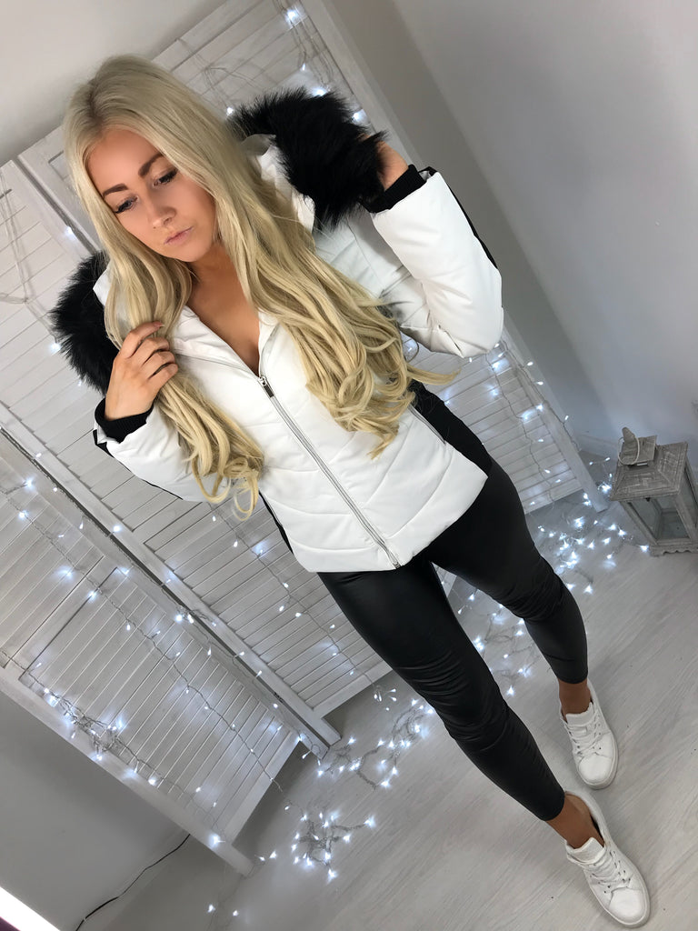 'Karis' White Puffer Coat with Black Stripe Detail & Faux-Fur Hood