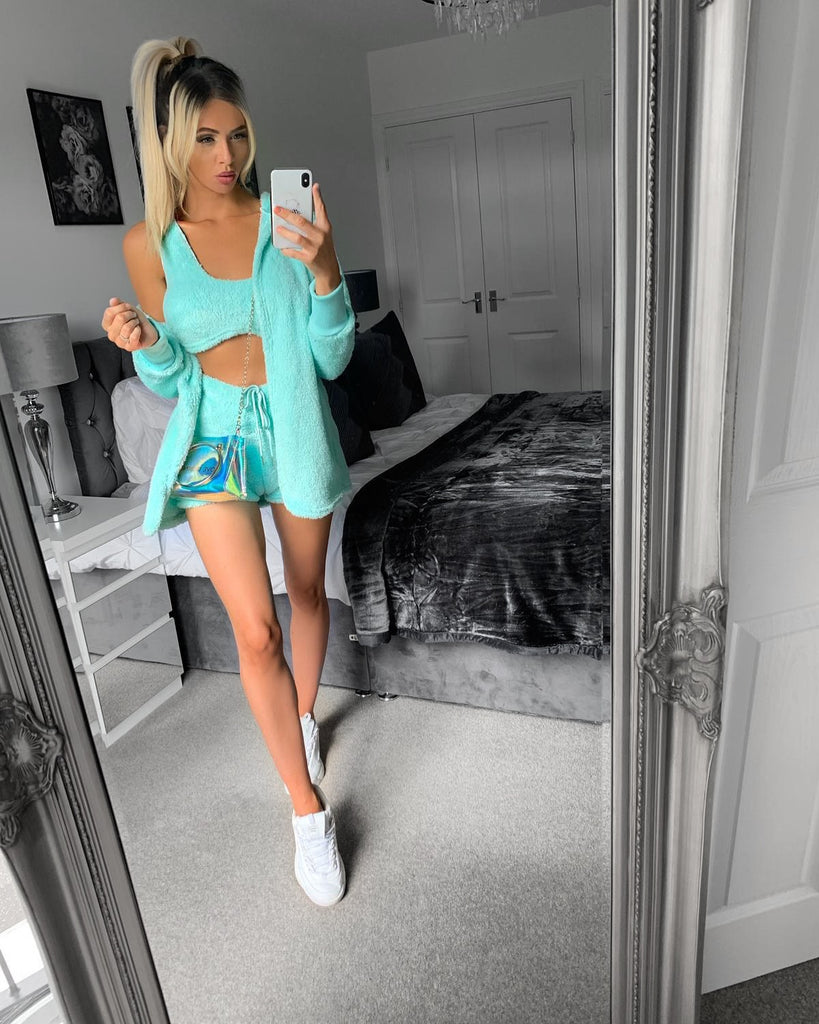 'Lexie' Turquoise Fluffy 3-Piece Set