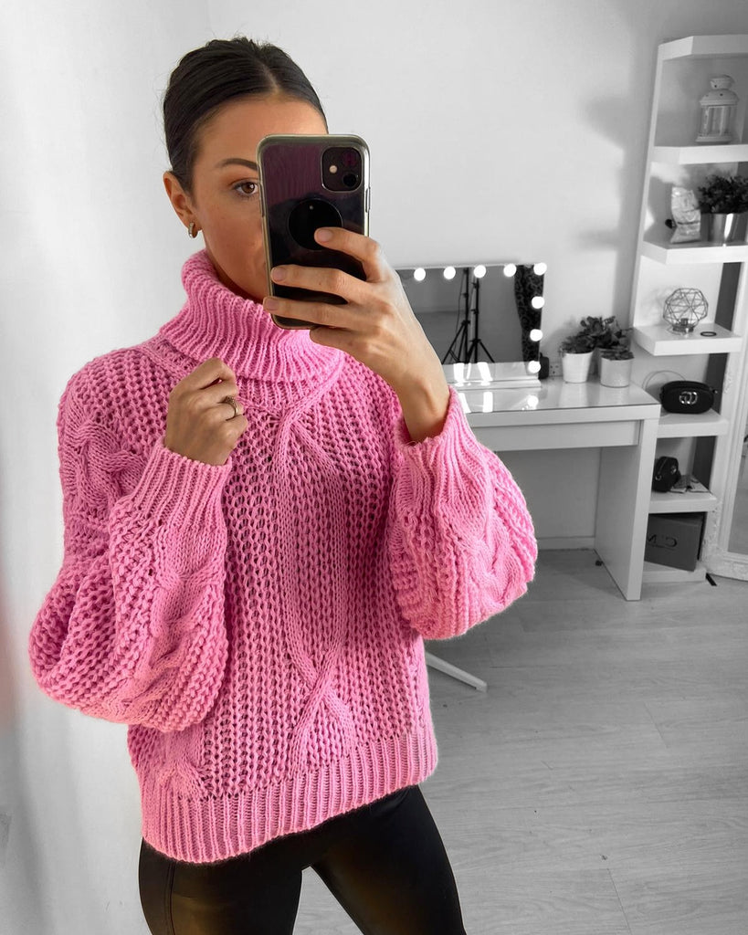 'Vienna' Pink Cable-Knit Roll Neck Jumper