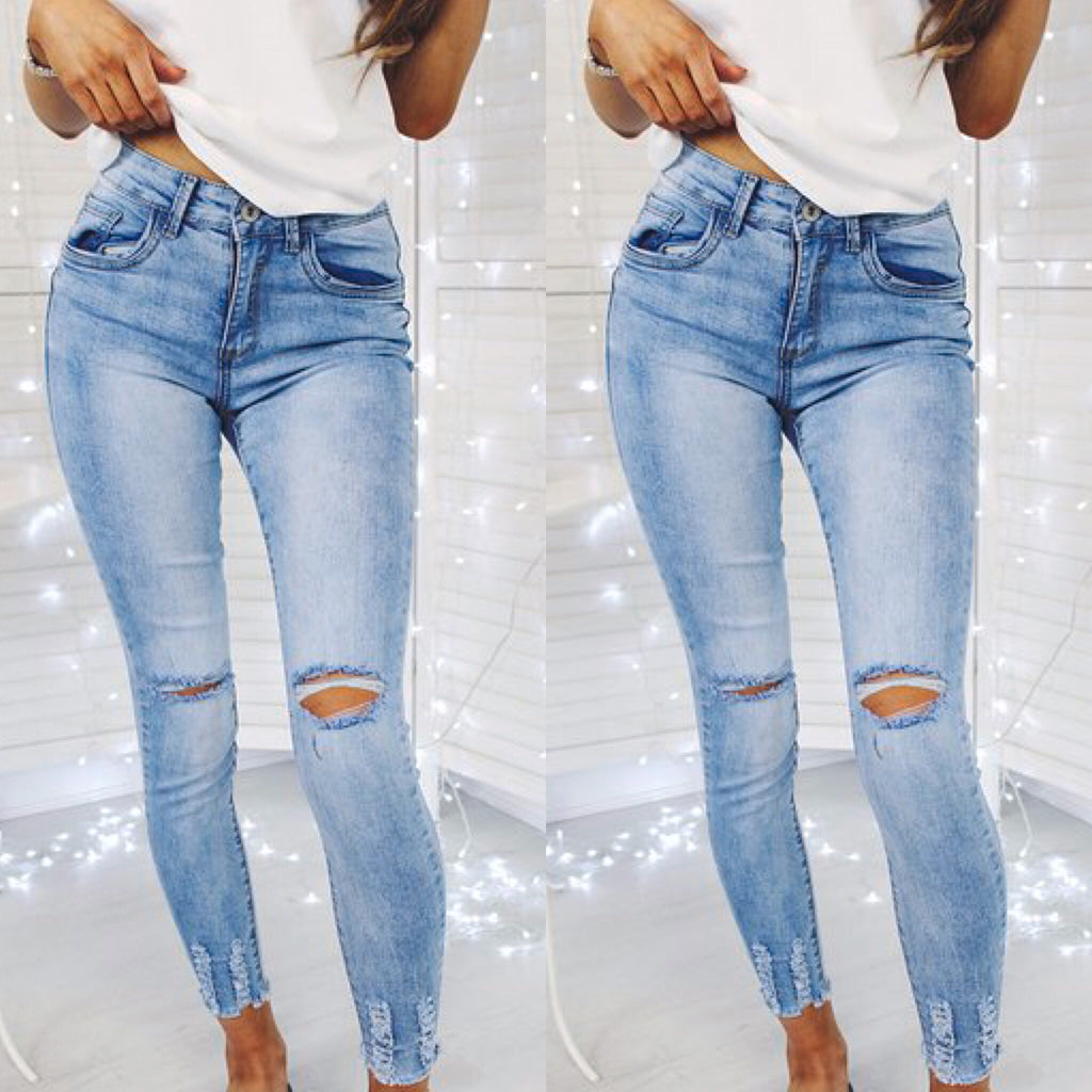 'Andie' Light- Blue Ripped-Knee Skinny Jeans