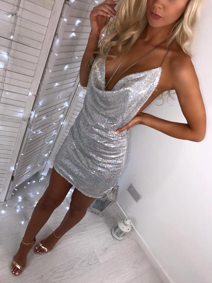 'Coralie' LUXE Silver Sequin Dress with Chain Detail
