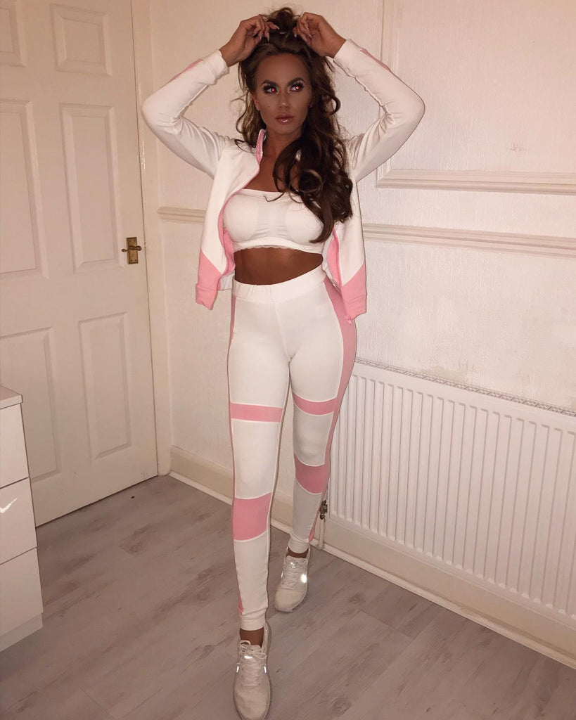 'Leila' White & Pink Contrast Zip-Front Loungesuit