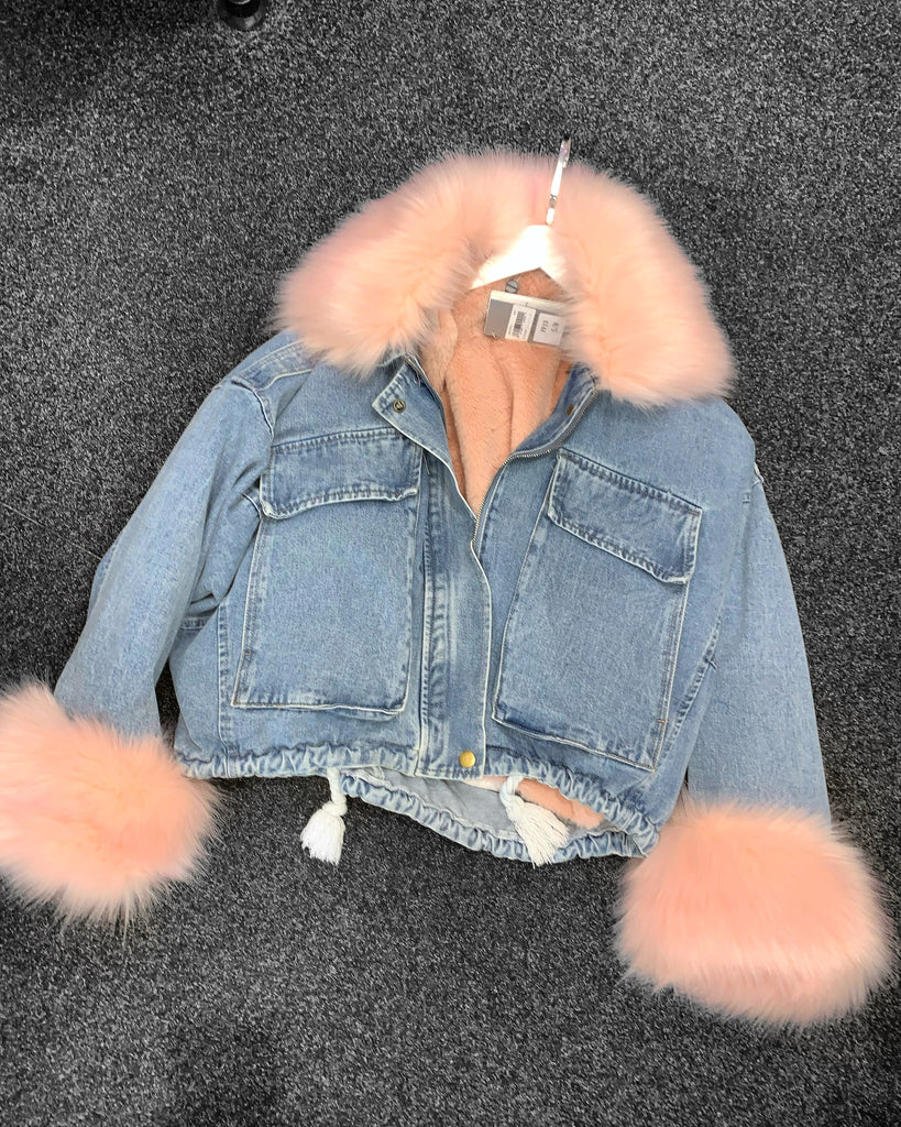 'Milan' Denim PinkFaux-Fur Lined Coat