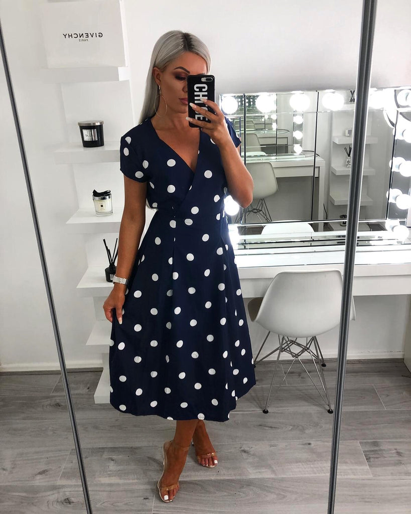 'Taylor' Navy Polka Dot Wrap Dress with Tie-Belt