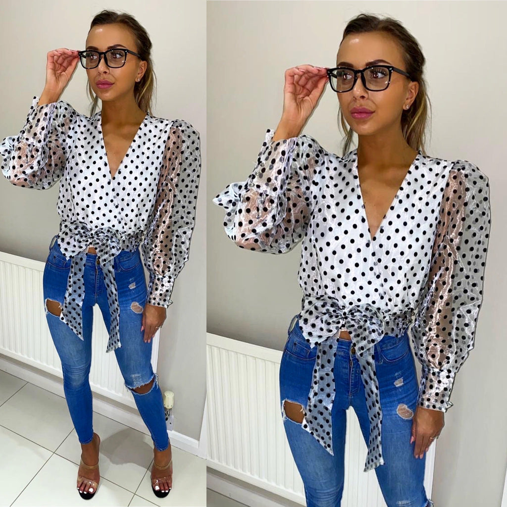 'Evelina' White Mesh Polka-Dot Wrap Blouse