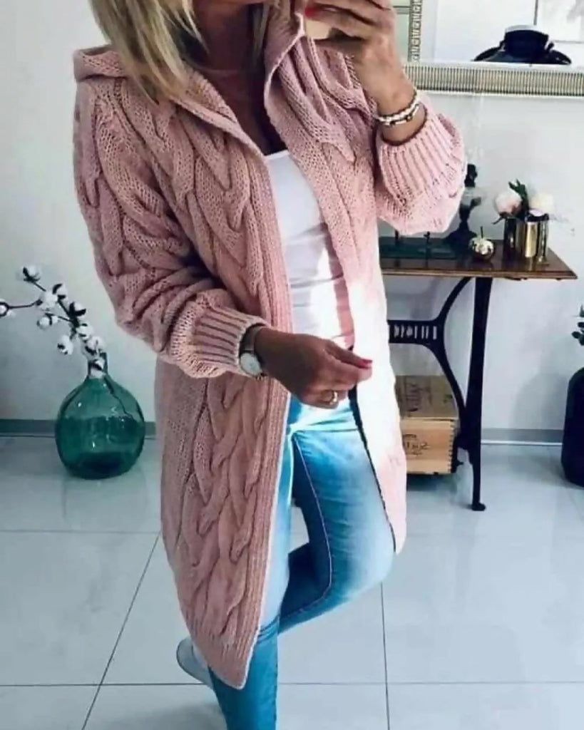 'Matilda' Pink Cable Knit Hooded Cardigan