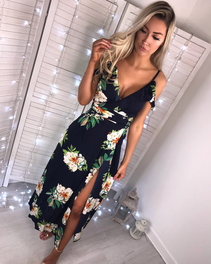 'Lulu' Navy Wrap-Front Floral Maxi Dress
