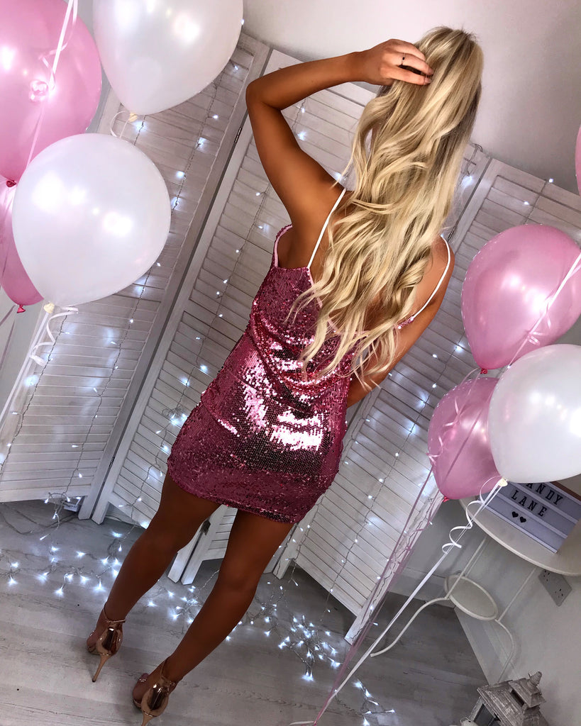 'Lulu' Pink Sequin Strappy Dress