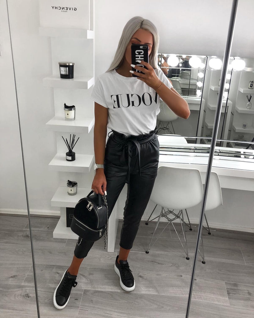 'Katriona' Black Faux-Leather Belted Paperbag Trousers