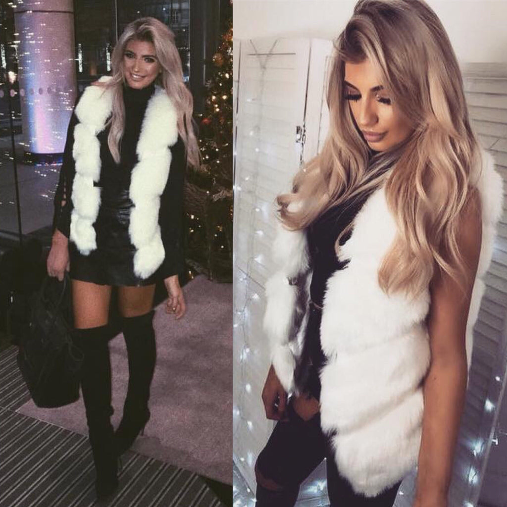'Parisian' LUXE Cream Faux-Fur Gilet with Front Dip